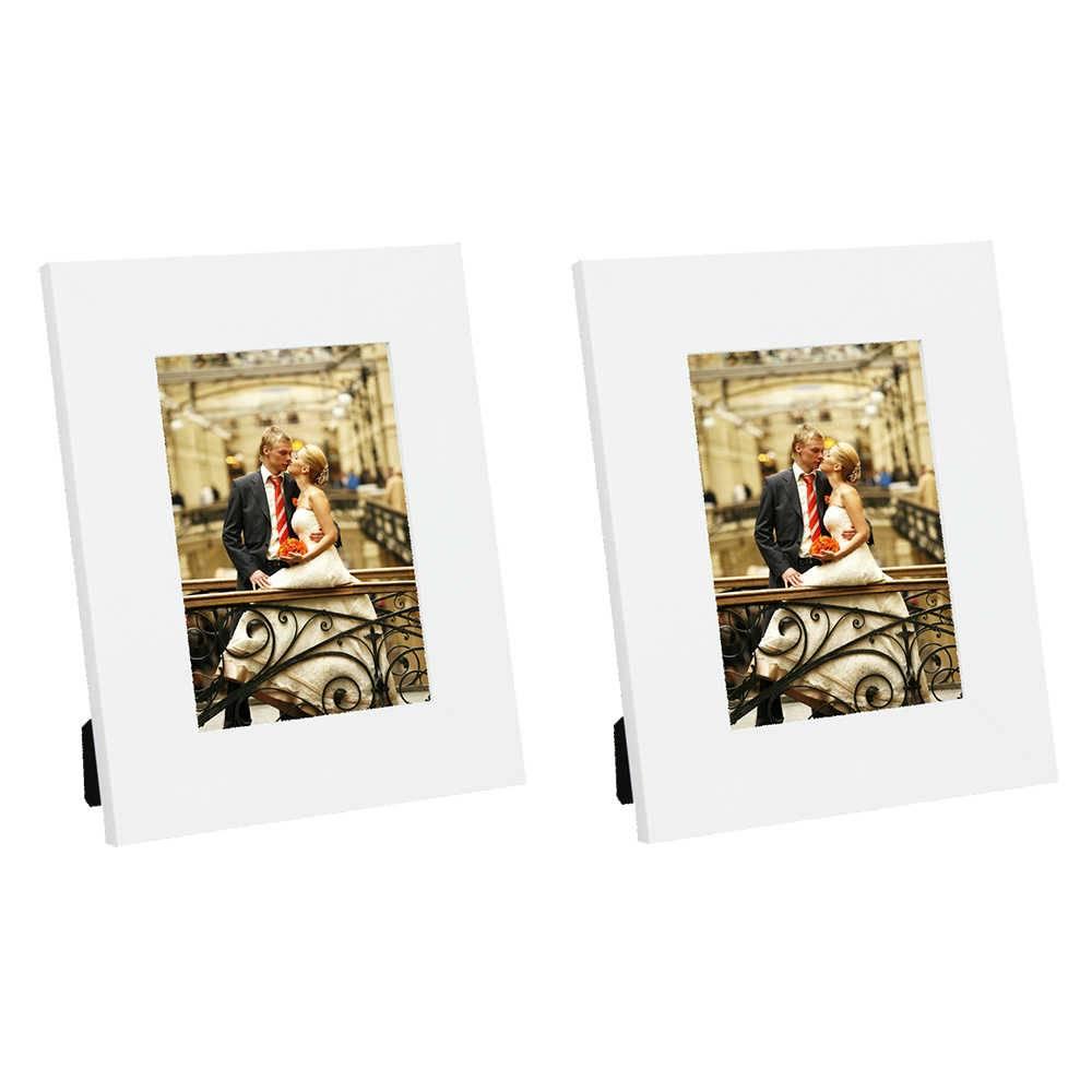 Conjunto 2 Porta-Retratos Moldura Reta Lisa Branca - Foto 20x25 cm - Em MDF e Vidro - 29x24 cm