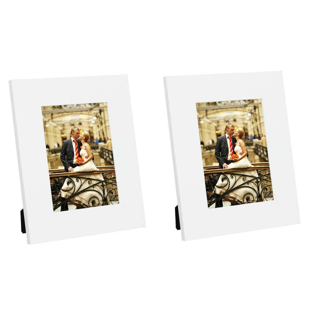 Conjunto 2 Porta-Retratos Moldura Reta Lisa Branco - Foto 13x18 cm - Em MDF e Vidro - 22x17 cm