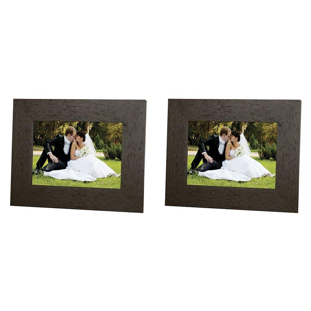 Conjunto 2 Porta-Retratos Moldura Reta Lisa Marrom - Foto 10x15 cm - Em MDF e Vidro - 19x14 cm