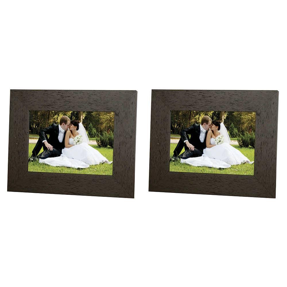 Conjunto 2 Porta-Retratos Moldura Reta Lisa Marrom - Foto 13x18 cm - Em MDF e Vidro - 22x17 cm