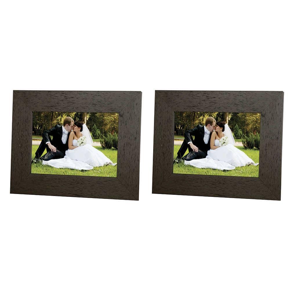 Conjunto 2 Porta-Retratos Moldura reta Lisa Marrom - Foto 15x21 cm - Em MDF e Vidro - 25x19 cm
