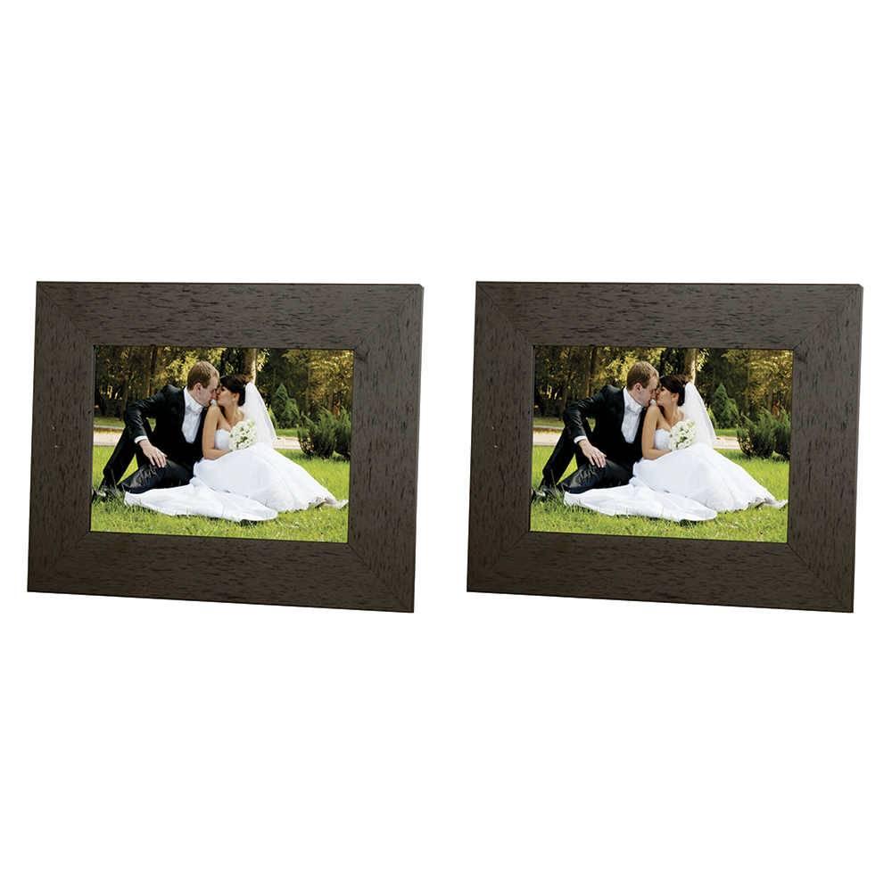 Conjunto 2 Porta-Retratos Moldura Reta Lisa Marrom - Foto 20x25 cm - Em MDF e Vidro - 29x24 cm