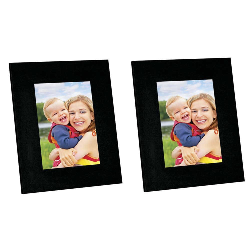 Conjunto 2 Porta-Retratos Moldura Reta Lisa Preta - Foto 10x15 cm - Em MDF e Vidro - 19x14 cm
