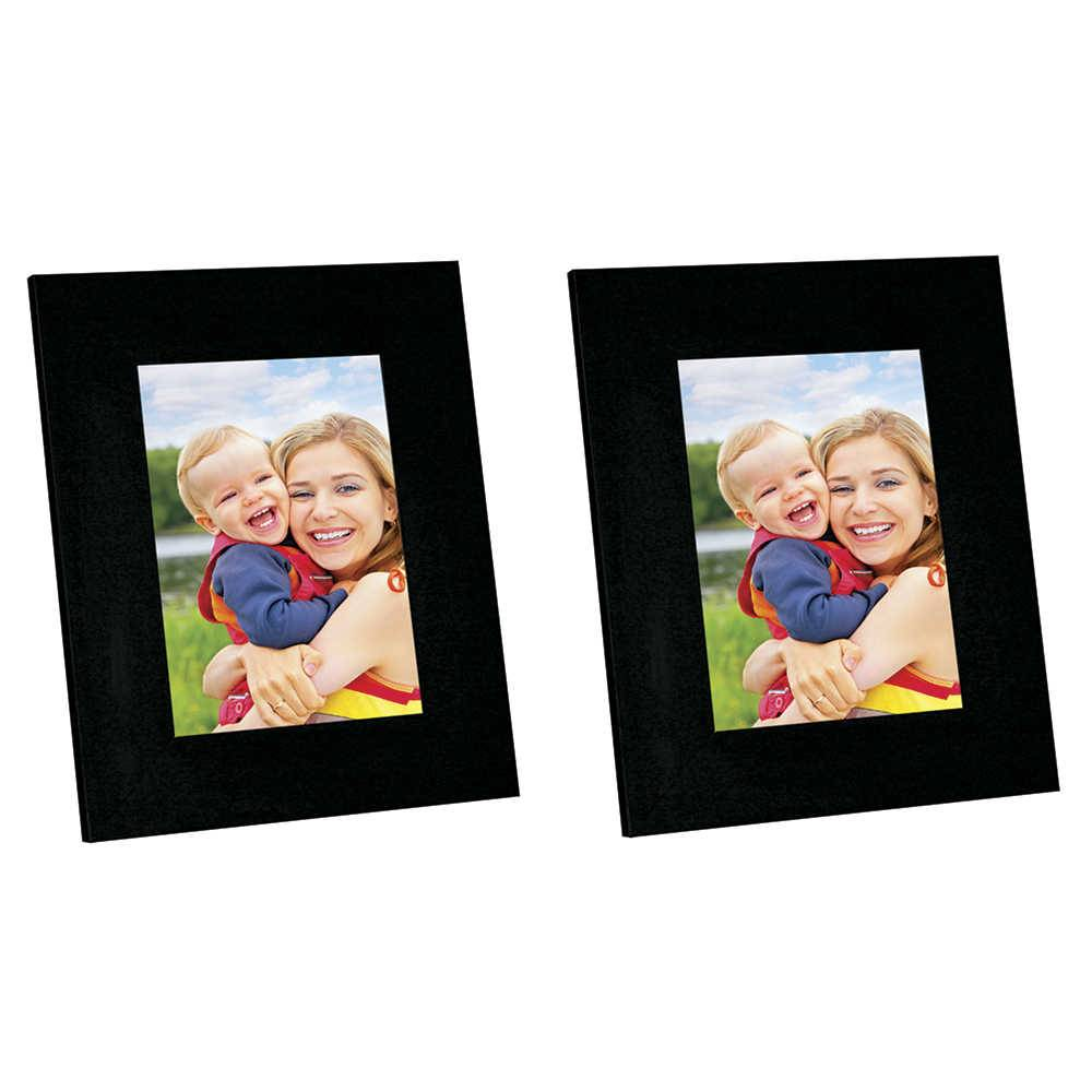 Conjunto 2 Porta-Retratos Moldura Reta Lisa Preta - Foto 13x18 cm - Em MDF e Vidro - 22x17 cm