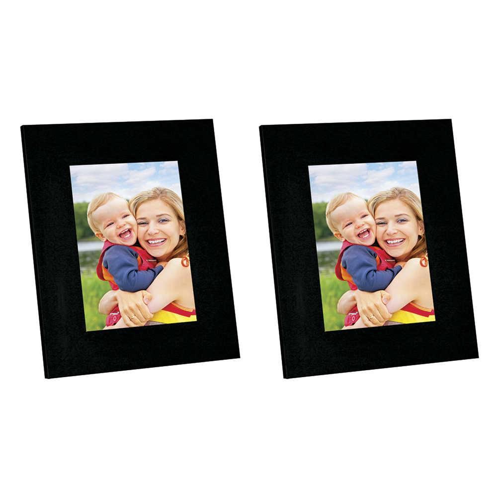 Conjunto 2 Porta-Retratos Moldura Reta Lisa Preta - Foto 15x21 cm - Em MDF e Vidro - 25x19 cm
