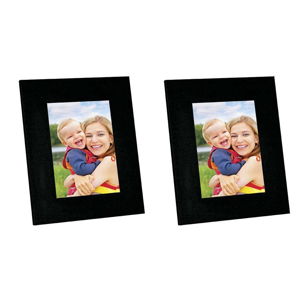 Conjunto 2 Porta-Retratos Moldura Reta Lisa Preta - Foto 20x25 cm - Em MDF e Vidro - 29x24 cm