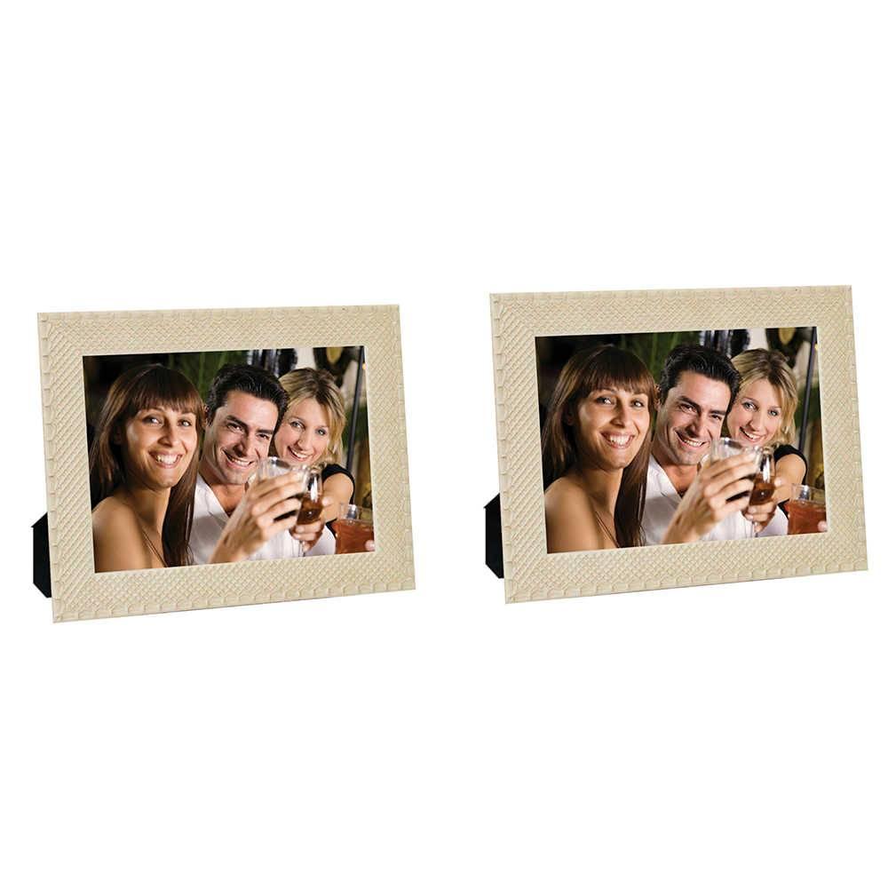 Conjunto 2 Porta-Retratos Moldura Treliça Bege - Foto 15x21 cm - Em MDF e Vidro - 24x18 cm