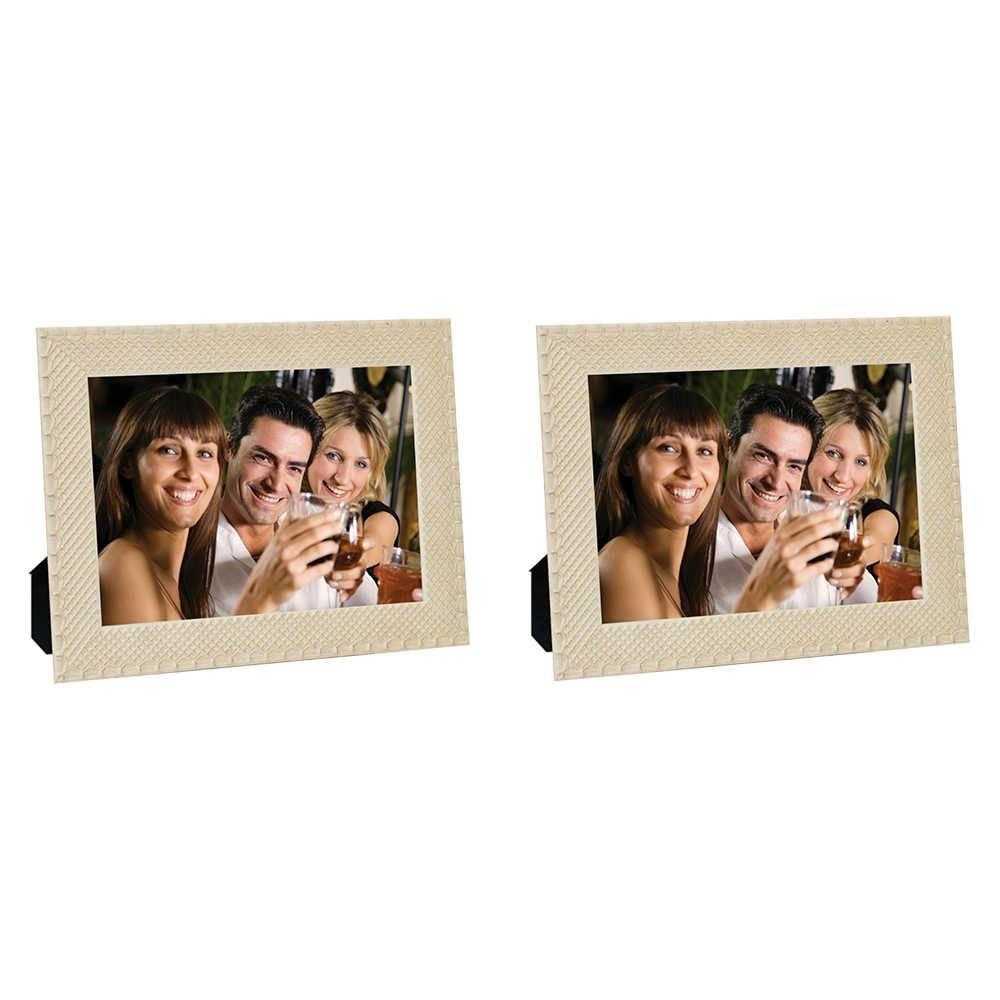 Conjunto 2 Porta-Retratos Moldura Treliça Bege - Foto 20x25 cm - Em MDF e Vidro - 28x23 cm