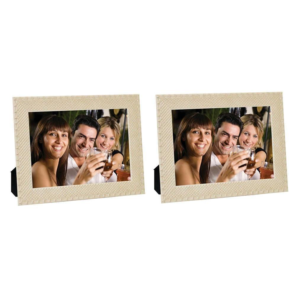 Conjunto 2 Porta-Retratos Moldura Treliça Bege - Foto 20x30 cm - Em MDF e Vidro - 33x23 cm