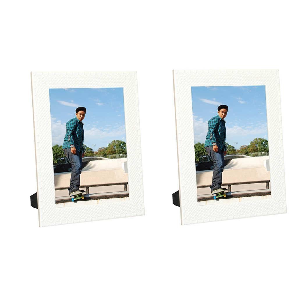 Conjunto 2 Porta-Retratos Moldura Treliça Branco - Foto 20x30 - Em MDF e Vidro - 33x23 cm