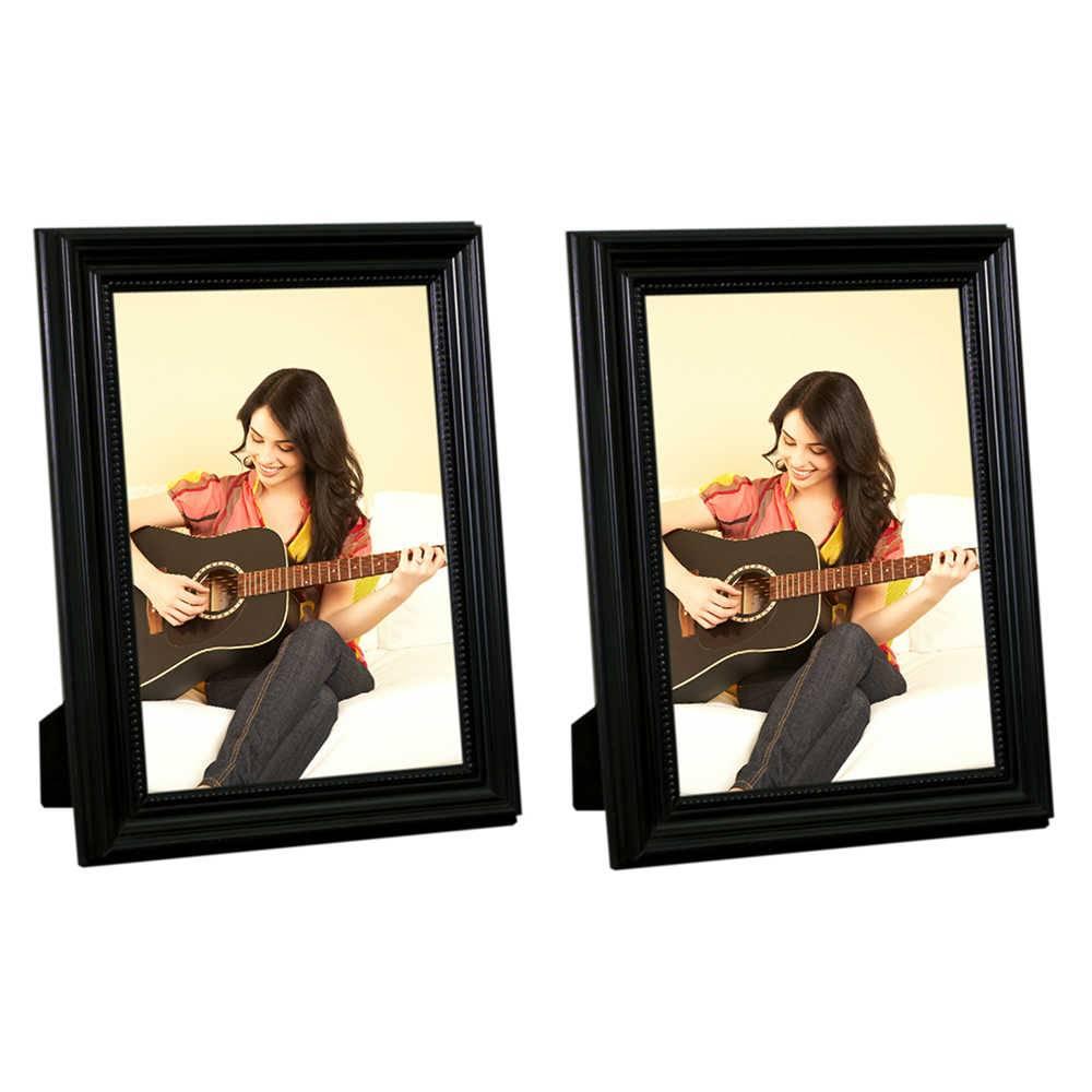 Conjunto 2 Porta-Retratos Pretos - 13x18 cm - em Madeira Laqueada - 24x16 cm