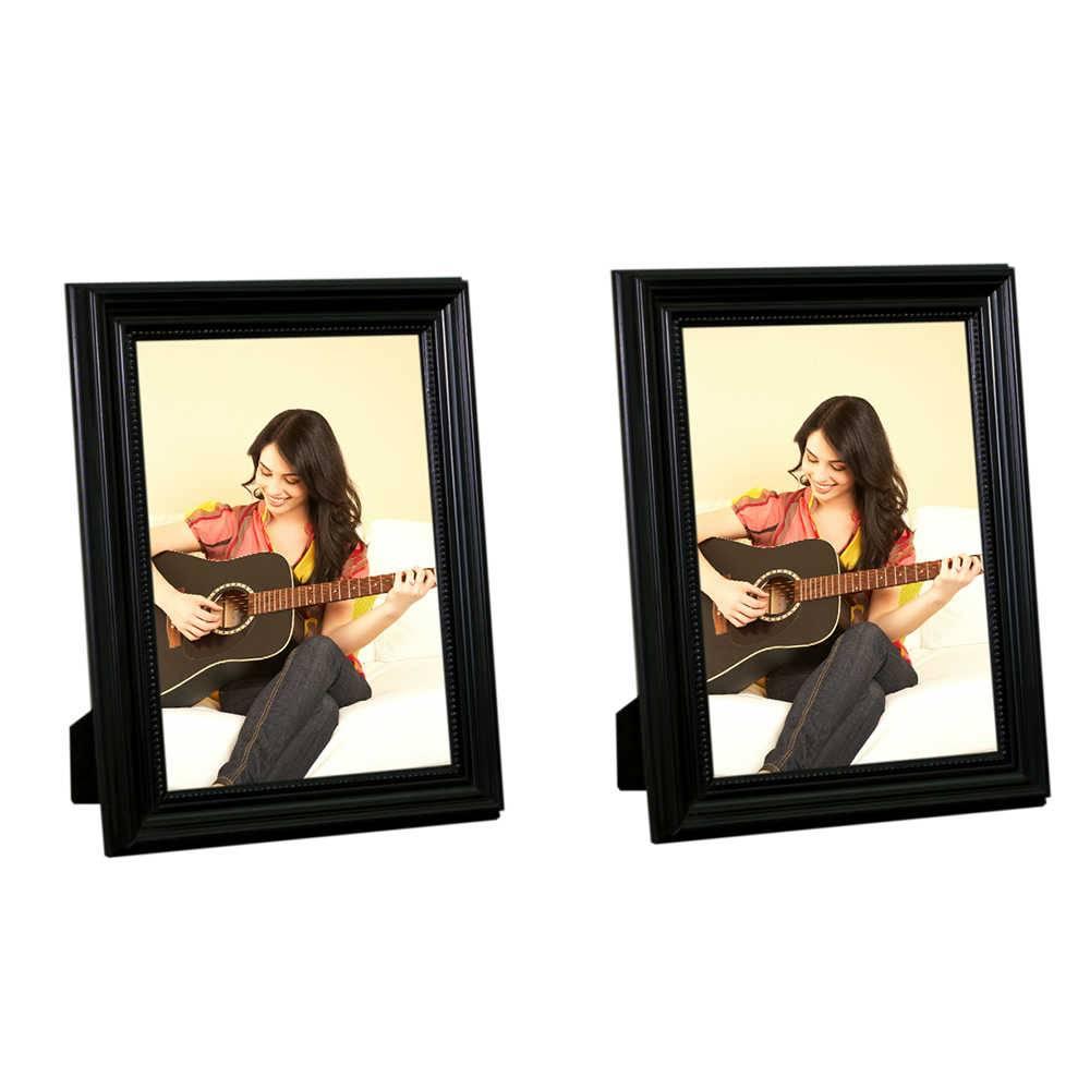 Conjunto 2 Porta-Retratos Pretos - 15x21 cm - em Madeira Laqueada - 24x18 cm