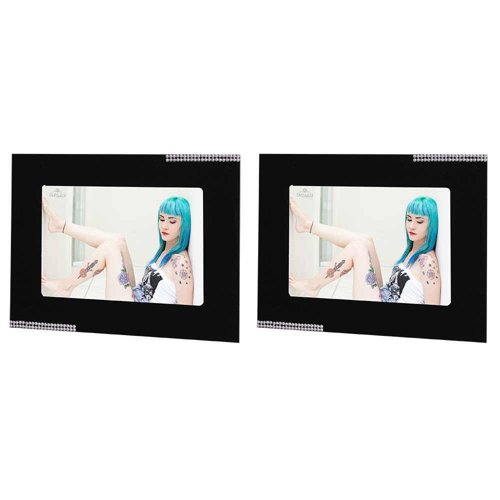 Conjunto 2 Porta-Retratos Pretos - 15x21 cm - em MDF com Detalhe de Pérolas - 29x23 cm
