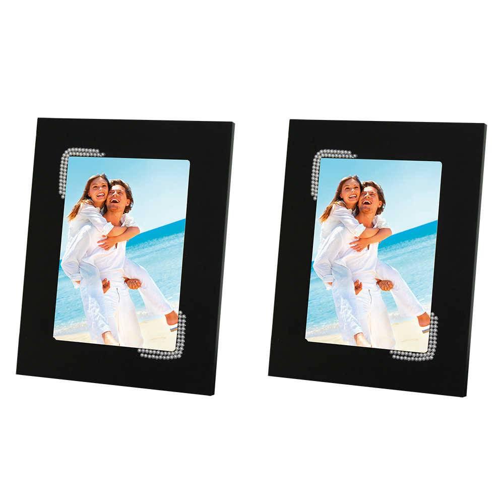 Conjunto 2 Porta-Retratos Pretos - 15x21 cm - em MDF com Pérolas - 29x23 cm