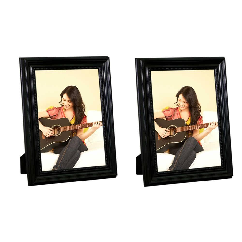 Conjunto 2 Porta-Retratos Pretos - 20x25 cm - em Madeira Laqueada - 28x23 cm