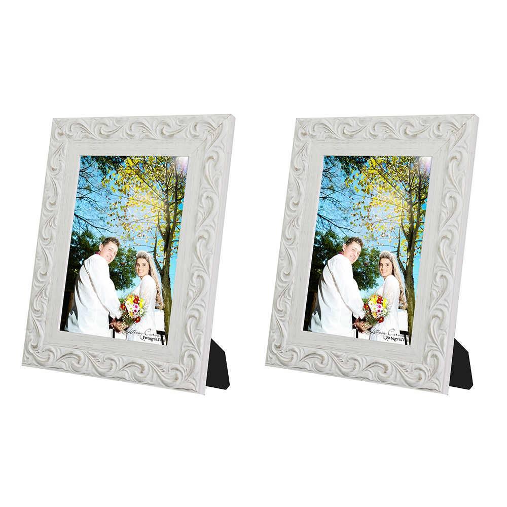 Conjunto 2 Porta-Retratos Provence - 13x18 cm - Brancos em Madeira - 26x21 cm