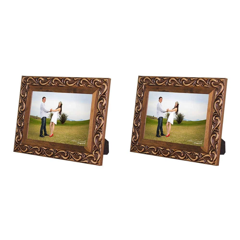 Conjunto 2 Porta-Retratos Provence - 13x18 cm - Marrom em Madeira - 26x21 cm
