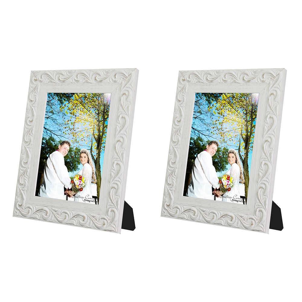 Conjunto 2 Porta-Retratos Provence - 15x21 cm - Brancos em Madeira - 29x23 cm