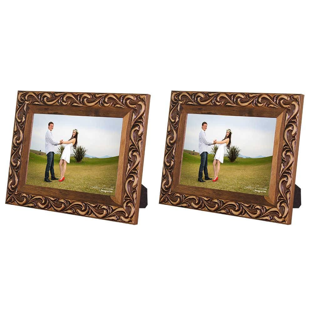 Conjunto 2 Porta-Retratos Provence - 15x21 cm - Marrom em Madeira - 29x23 cm