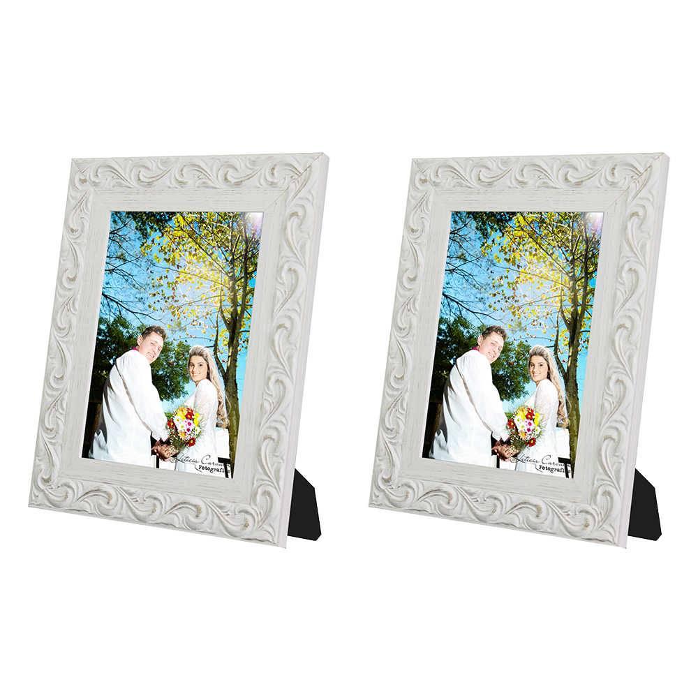 Conjunto 2 Porta-Retratos Provence - 20x25 cm - Brancos em Madeira - 33x28 cm