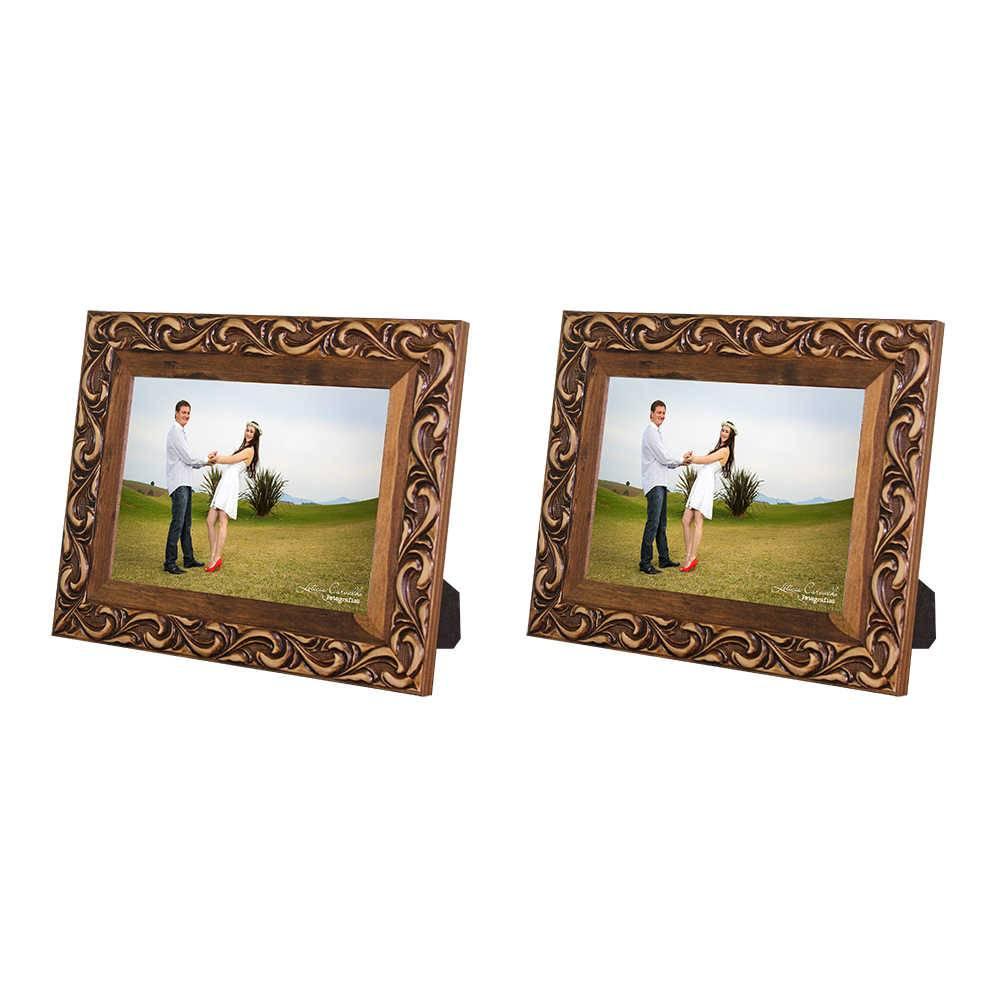 Conjunto 2 Porta-Retratos Provence - 20x25 cm - Marrom em Madeira - 33x28 cm