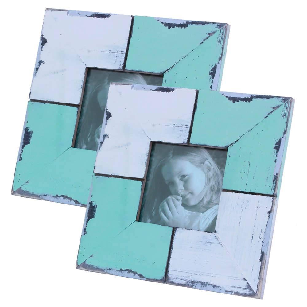 Conjunto 2 Porta-Retratos Quadriculate Color Verde e Branco em Madeira - 15,5x15,5 cm