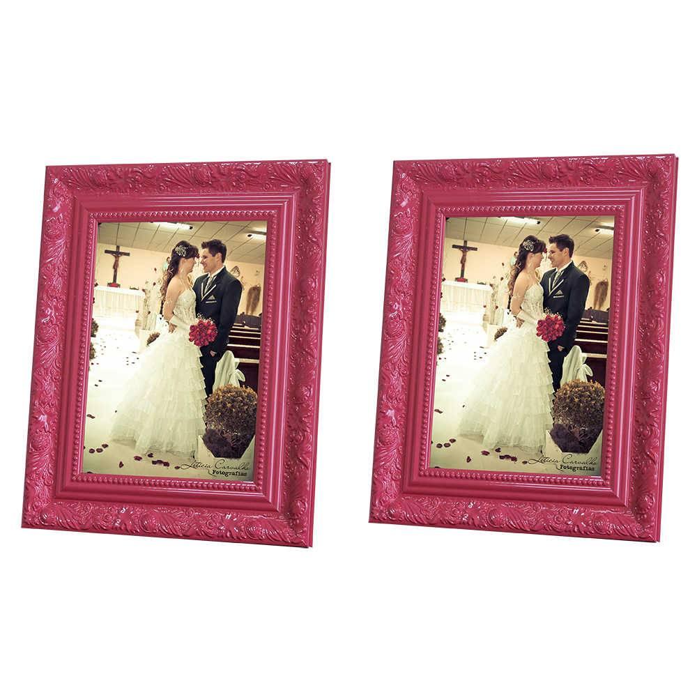 Conjunto 2 Porta-Retratos Rosa - 10x15 cm - com Moldura Trabalhada em Madeira - 19x14 cm