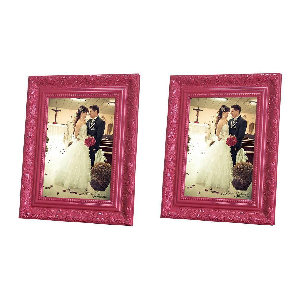 Conjunto 2 Porta-Retratos Rosa - 13x18 cm - com Moldura Trabalhada em Madeira - 22x17 cm