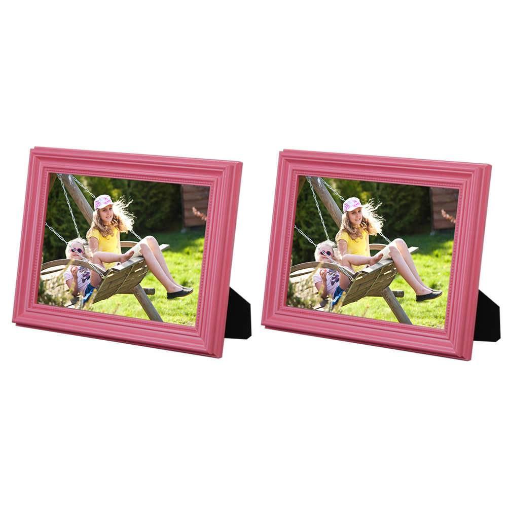 Conjunto 2 Porta-Retratos Rosa - 15x21 cm - em Madeira Laqueada - 24x18 cm