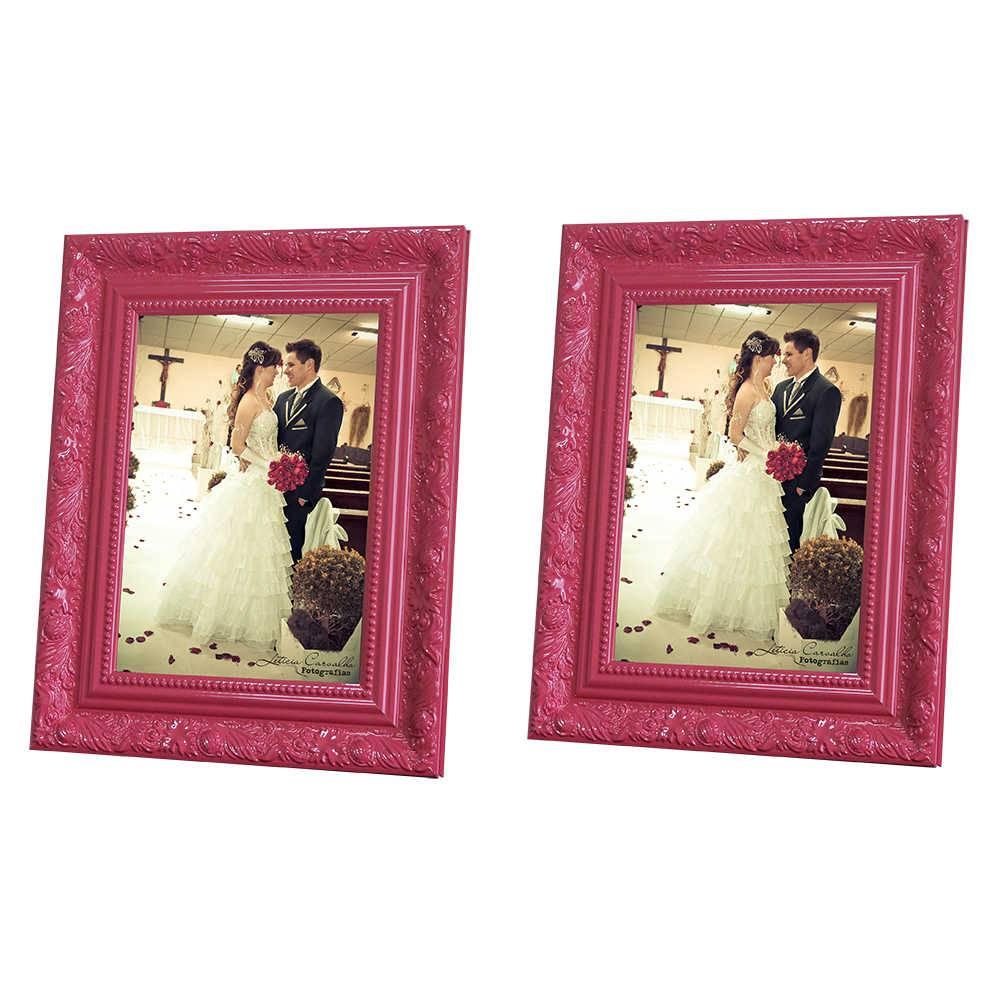 Conjunto 2 Porta-Retratos Rosa - 15x21 cm - com Moldura Trabalhada em Madeira - 25x19 cm