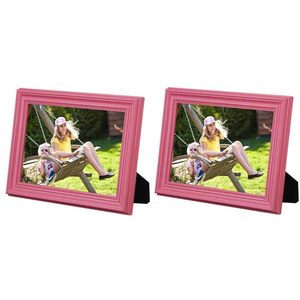 Conjunto 2 Porta-Retratos Rosa - 20x25 cm - em Madeira Laqueada - 28x23 cm