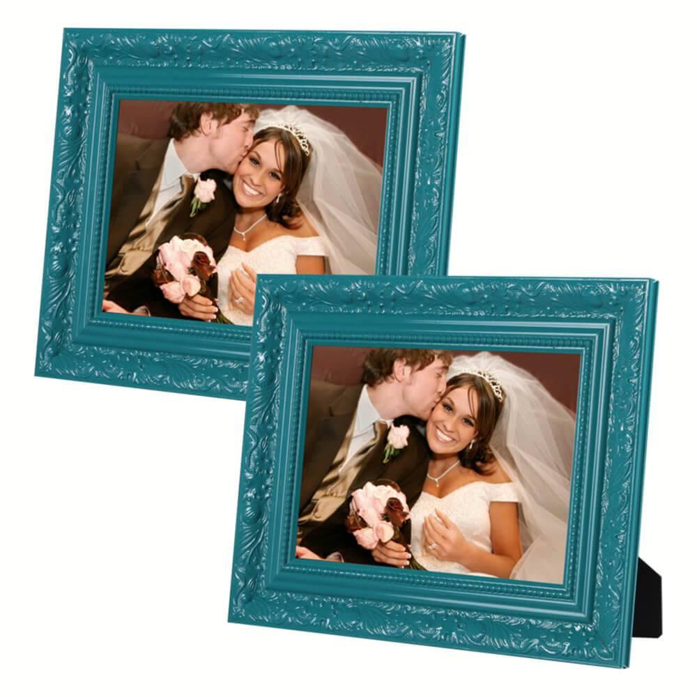 Conjunto 2 Porta-Retratos Verdes - 10x15 cm - com Moldura Trabalhada em Madeira - 19x14 cm