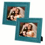 Conjunto 2 Porta-Retratos Verdes 10x15 cm Moldura Trabalhada