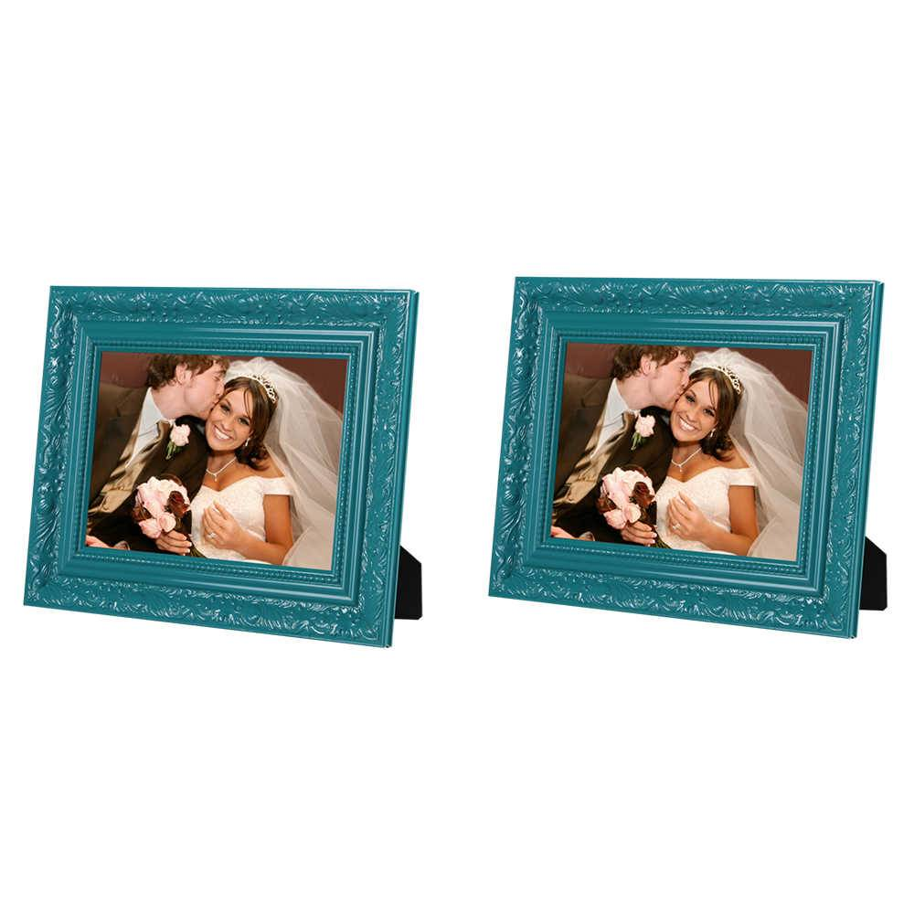 Conjunto 2 Porta-Retratos Verdes - 15x21 cm - com Moldura Trabalhada em Madeira - 25x19 cm