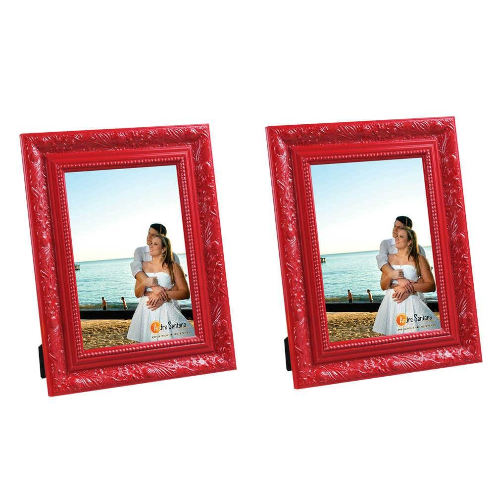 Conjunto 2 Porta-Retratos Vermelho - 15x21 cm - com Moldura Trabalhada em Madeira - 25x19 cm