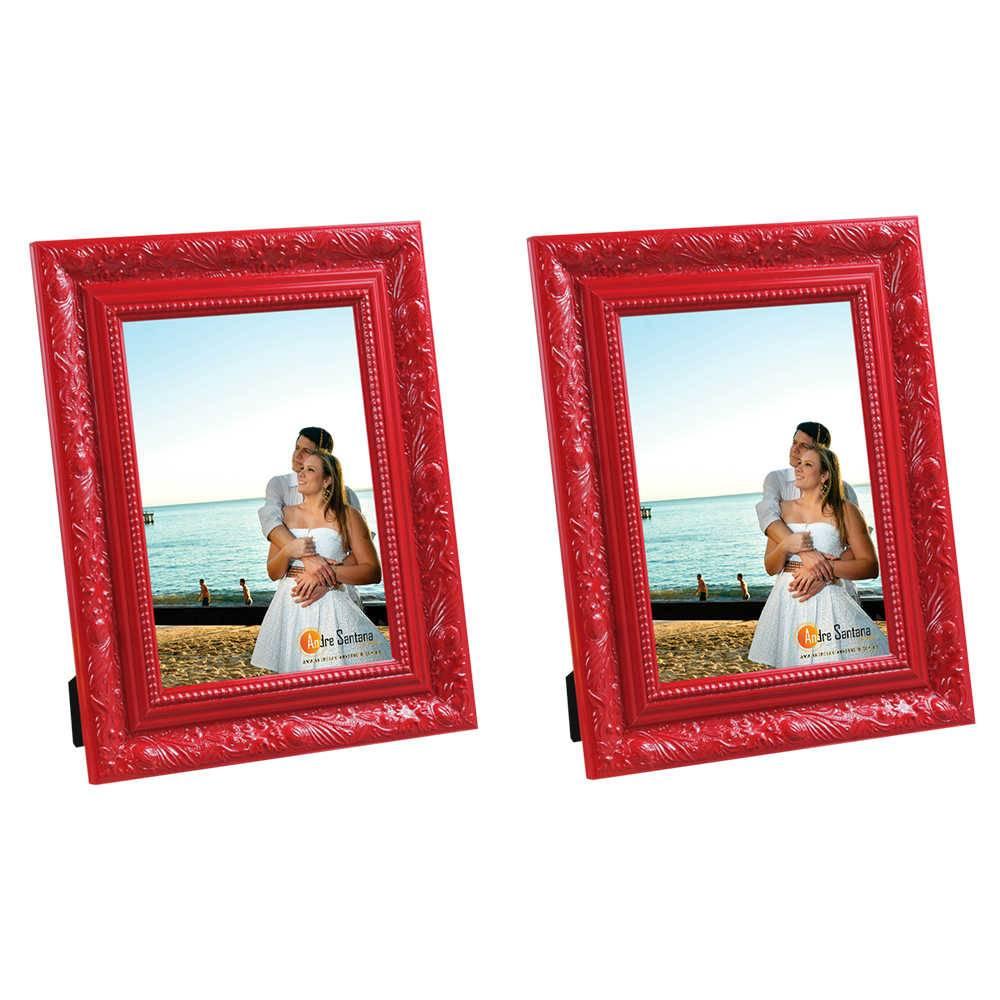Conjunto 2 Porta-Retratos Vermelhos - 10x15 cm - com Moldura Trabalhada em Madeira - 19x14 cm