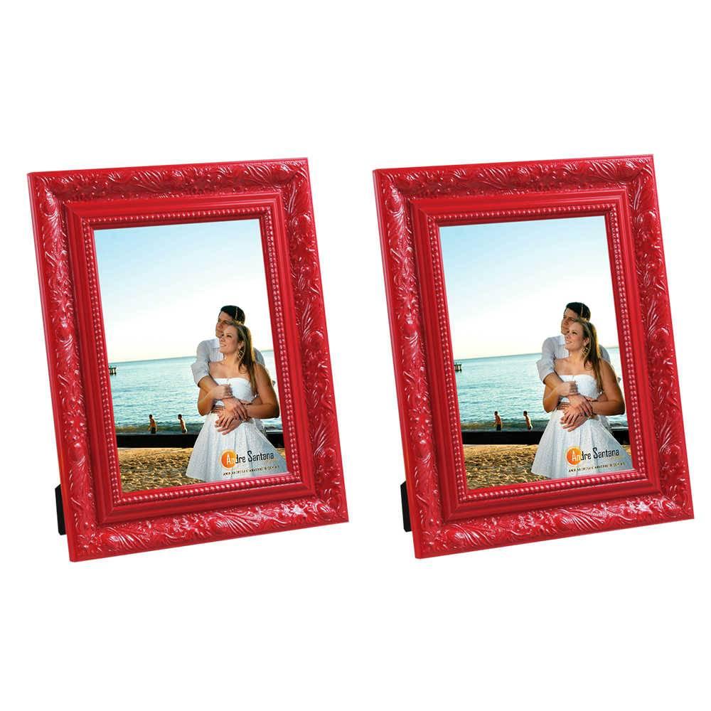 Conjunto 2 Porta-Retratos Vermelhos - 13x18 cm - com Moldura Trabalhada em Madeira - 22x17 cm