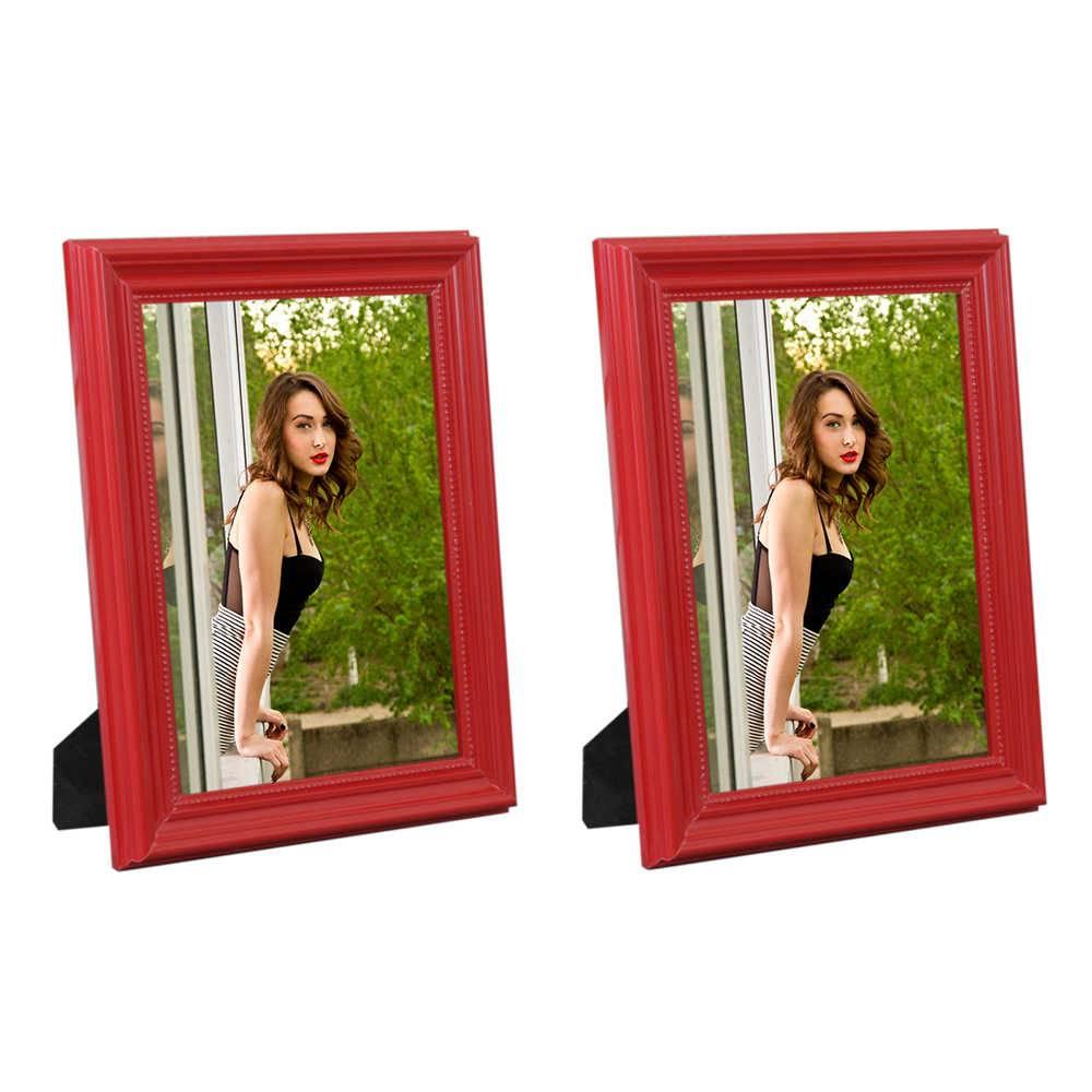 Conjunto 2 Porta-Retratos Vermelhos - 20x25 cm - em Madeira Laqueada - 28x23 cm