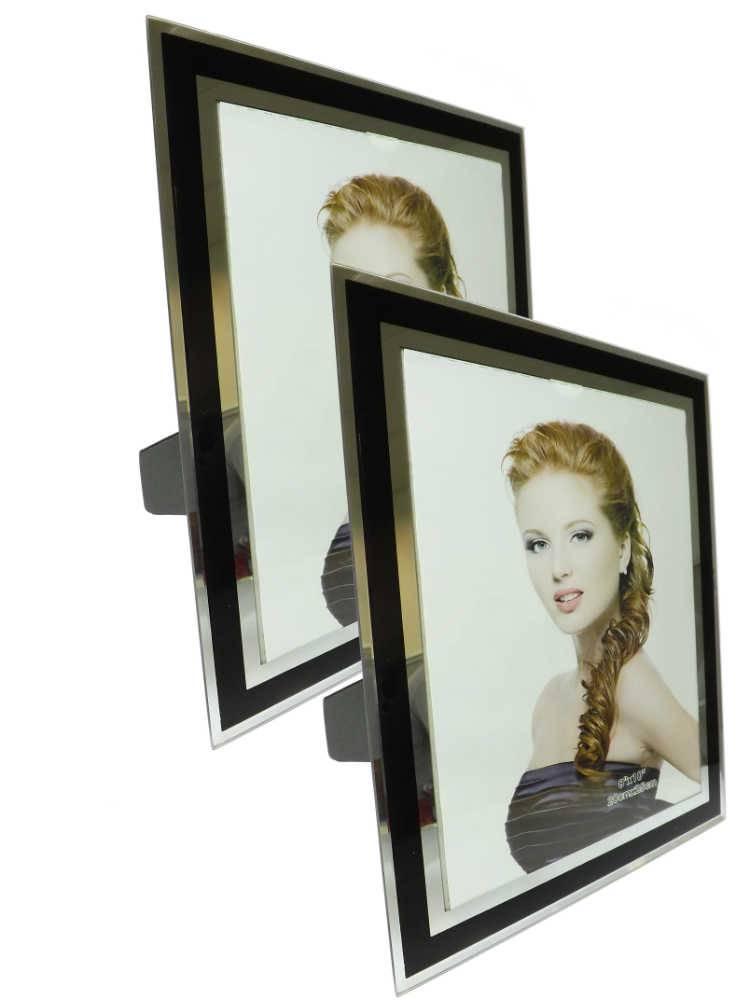 Conjunto 2 Portas-Retratos 20x25 cm Listra Preta em Vidro - 30,5x25,5 cm