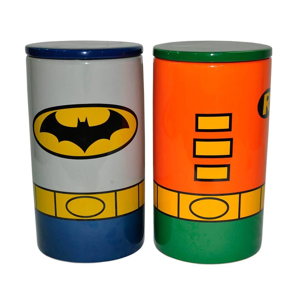 Conjunto 2 Potes DC Comics Batman e Robin em Cerâmica - Urban - 26x14 cm