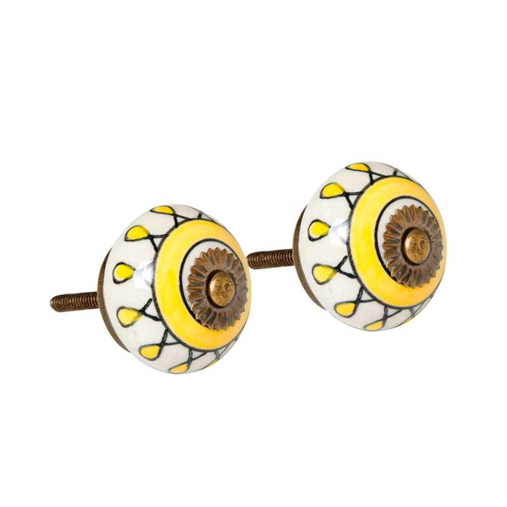 Conjunto 2 Puxadores Estampa Amarela com Fundo Branco em Cerâmica - 7x4 cm