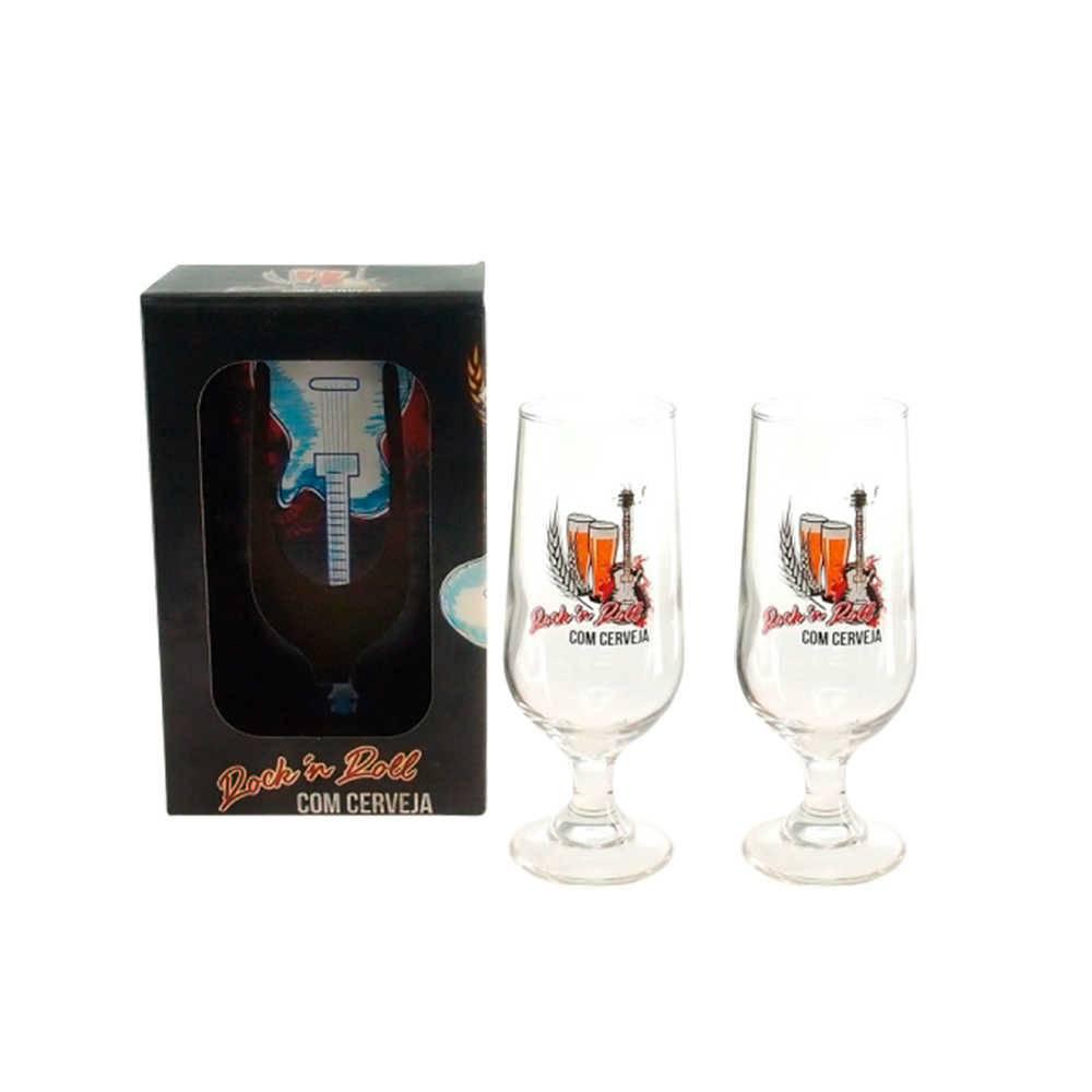 Conjunto 2 Taças para Cerveja Rock n Roll com Cerveja - 300 ml - em Vidro - 21x13 cm