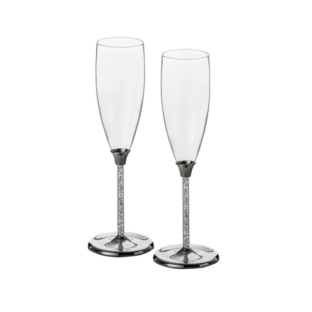 Conjunto 2 Taças para Champagne Bodas de Prata em Vidro com Strass - 175 ml - Lyor Classic