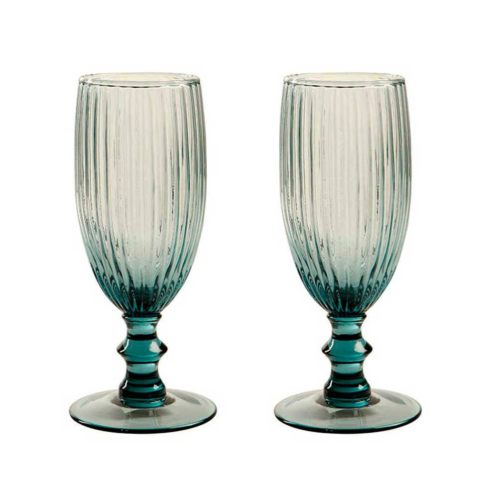 Conjunto 2 Taças para Champagne Kiwi Azul - 350 ml - em Vidro - 17x6 cm