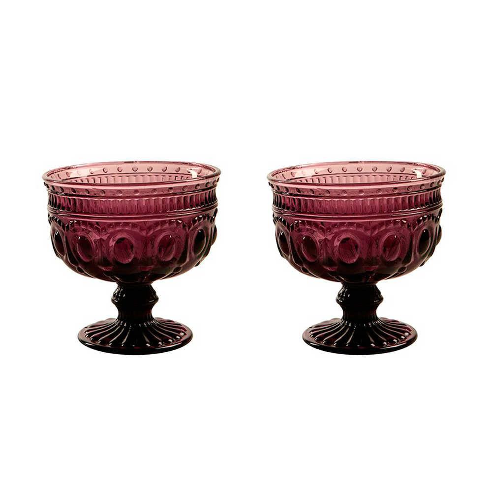 Conjunto 2 Taças para Sobremesa Jewelry Roxas em Vidro - 11x11 cm