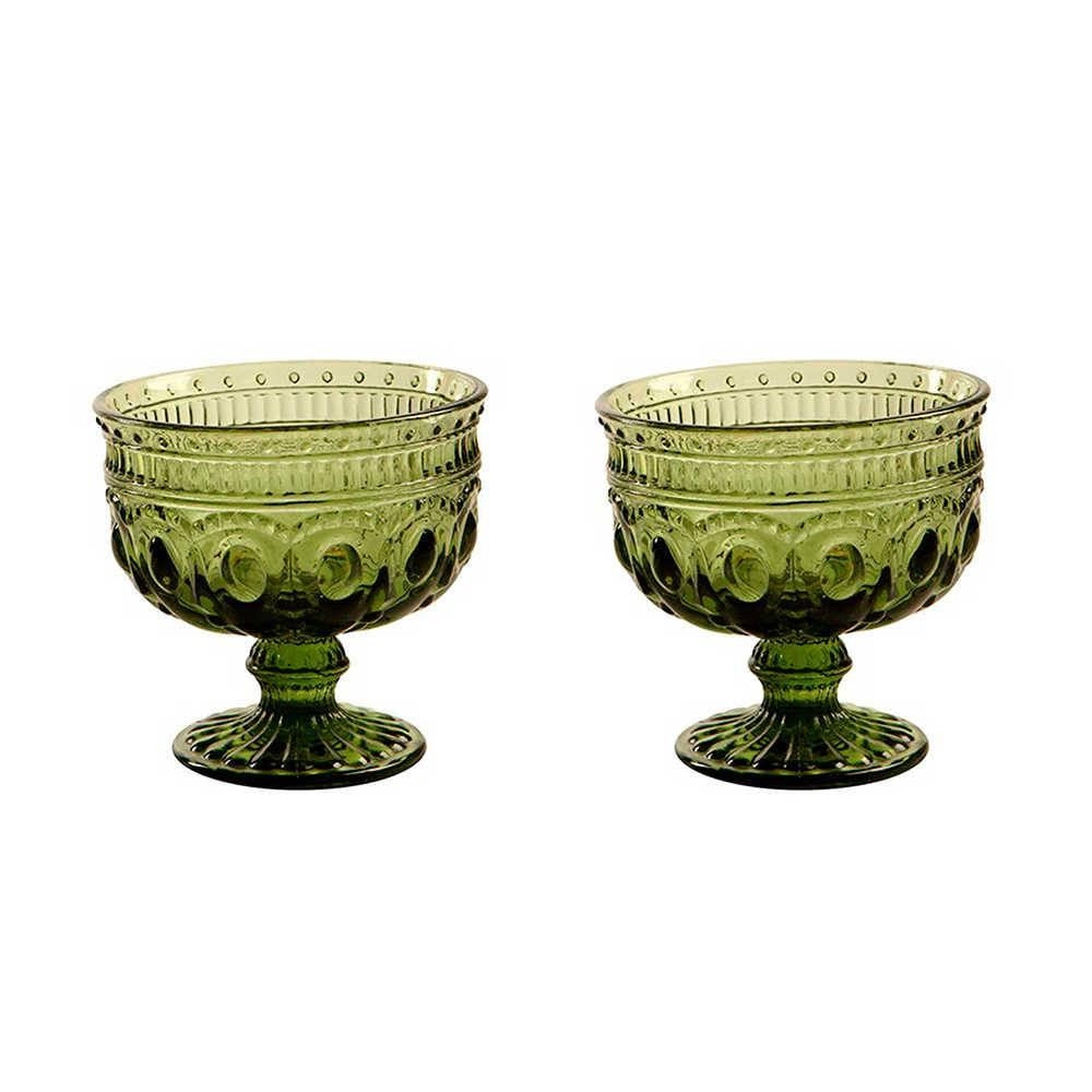 Conjunto 2 Taças para Sobremesa Jewelry Verdes em Vidro - 11x11 cm