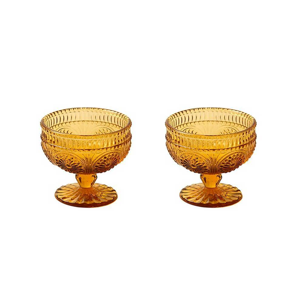 Conjunto 2 Taças para Sorvete Âmbar em Vidro Lapidado - 13x10 cm