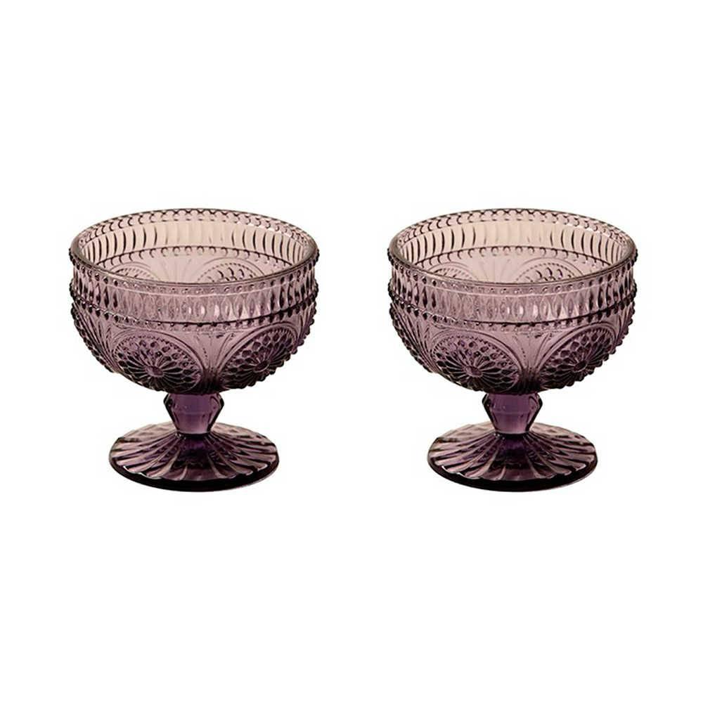 Conjunto 2 Taças para Sorvete Rome Roxa em Vidro Lapidado - 13x10 cm