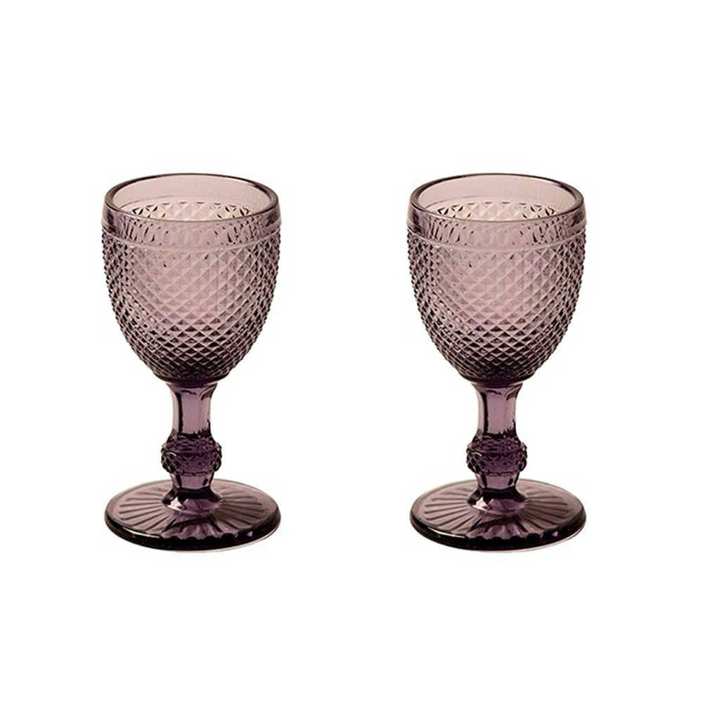 Conjunto 2 Taças para Vinho Branco Bico de Jaca Roxas em Vidro - 15x7 cm