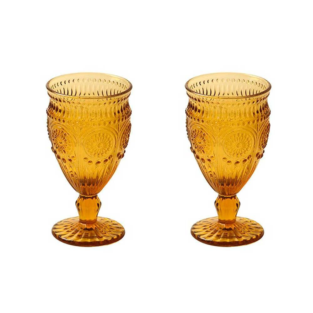 Conjunto 2 Taças para Vinho Branco Rome em Vidro Âmbar - 14x9 cm